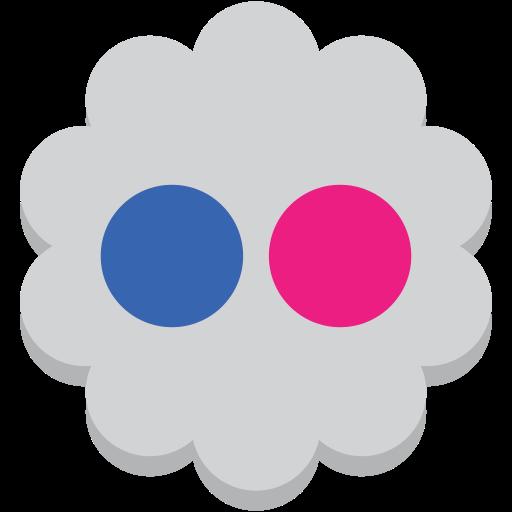 flickr, flower, media, round, social icon