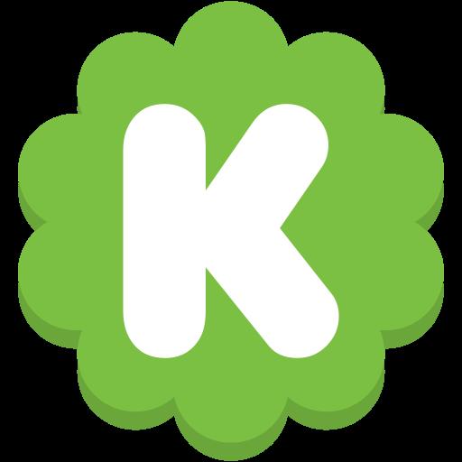 flower, k, kickstarter, media, round, social icon