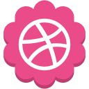 dribble, flower, media, round, social icon