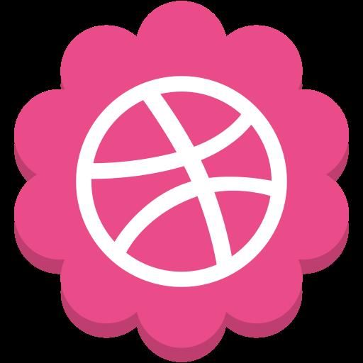 dribble, flower, media, round, social icon