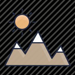hills, land, mountain, nature, outdoor, peak, sun icon