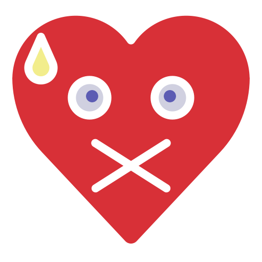 emoji, emotion, heart, mute, silence icon