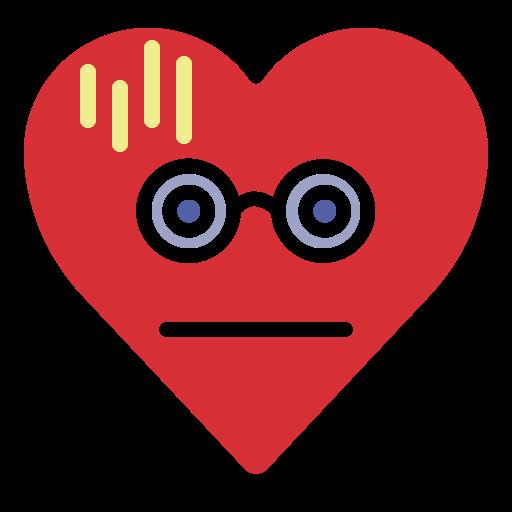 dazed, dizzy, emoji, emotion, heart, nerd icon