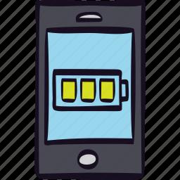 app, battery, full, mobile, smartphone icon