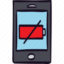 battery, empty, off, power, smartphone icon