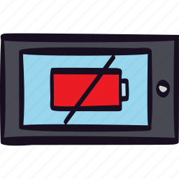 battery, empty, off, power, tablet icon