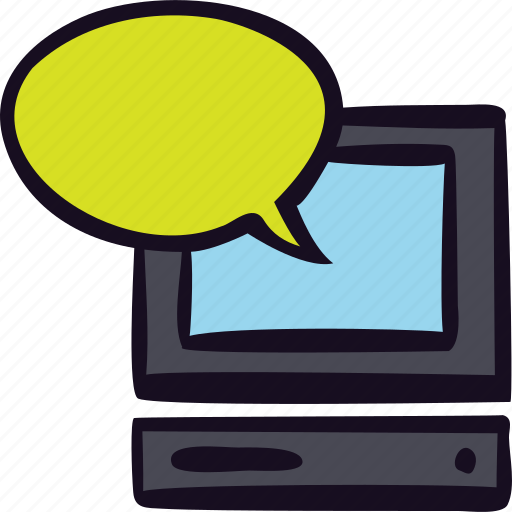 bubble, chat, computer, conversation, monitor, online icon