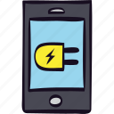 charged, charger, charging, connected, electricity, smartphone icon