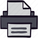 device, document, file, letter, print, printer icon