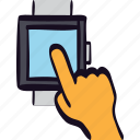 finger, gesture, hand, mobile, smartwatch, touch, watch icon