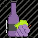 wine, beverage, berries, bottle, alcohol, drink
