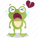 broken, emoji, emoticon, frog, heart, smiley, sticker icon