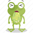 emoji, emoticon, frog, sick, smiley, sticker