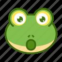 amazed, emoticon, frog, funny, shocked, wow icon