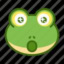 amazed, emoticon, frog, funny, surprised icon