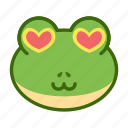 emoticon, frog, funny, loved icon