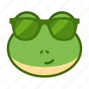 cool, emoticon, frog, funny, glasses icon