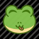 emoticon, frog, funny, tongue icon