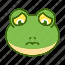 emoticon, frog, funny, sad icon