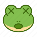 cross eyes, emoticon, frog, funny, shocked icon