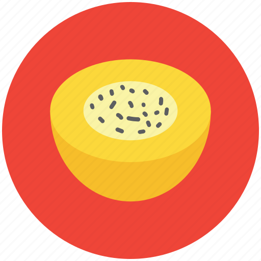 cantaloupe melon, food, fruit, half melon, melon, round fruit icon