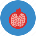 food, fruit, half of pomegranate, pomegranate, reddish berry, spherical fruit icon