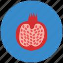 food, fruit, half of pomegranate, pomegranate, reddish berry, spherical fruit icon