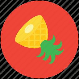 food, fruit, half of pineapple, healthy food, pineapple, tropical icon