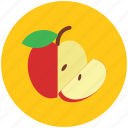 apple, apple fruit, food, fruit, half of apple, healthy food icon