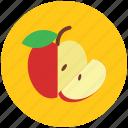 apple, apple fruit, food, fruit, half of apple, healthy food icon