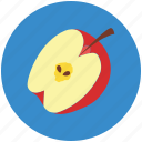apple fruit, food, fruit, half apple, healthy food, red icon