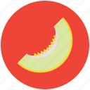 cantaloupe melon, food, fruit, honey dew, melon, round fruit, slice of melon icon