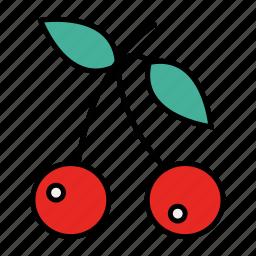 cherries, food, fresh, fruit icon