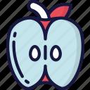 apple, eating, food, fruit, half, health