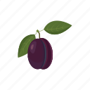 cartoon, food, fresh, fruit, organic, plum, ripe icon