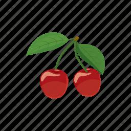 cartoon, cherry, food, fruit, juicy, nature, sweet icon