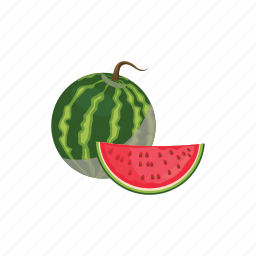 cartoon, food, fruit, healthy, ripe, slice, watermelon icon