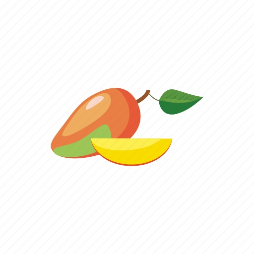 cartoon, food, fruit, juicy, mango, ripe, tropical icon