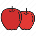 apples, diet, food, fresh, fruit, healthy, organic icon