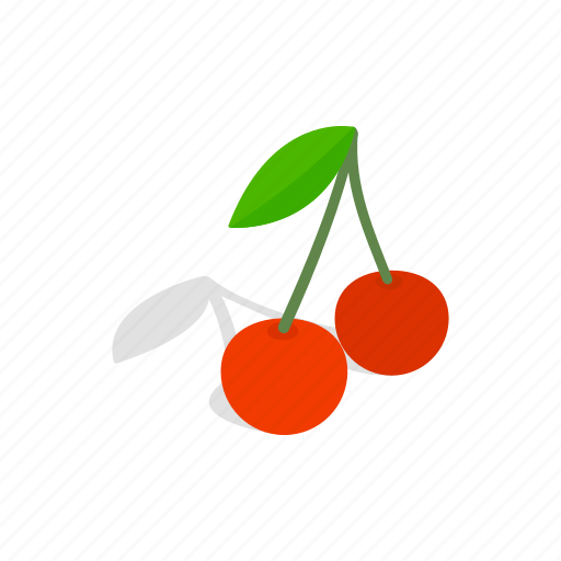 berry, cherry, food, fruit, isometric, red, sweet icon
