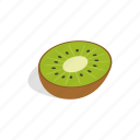 food, green, half, isometric, kiwi, sweet, tropical icon