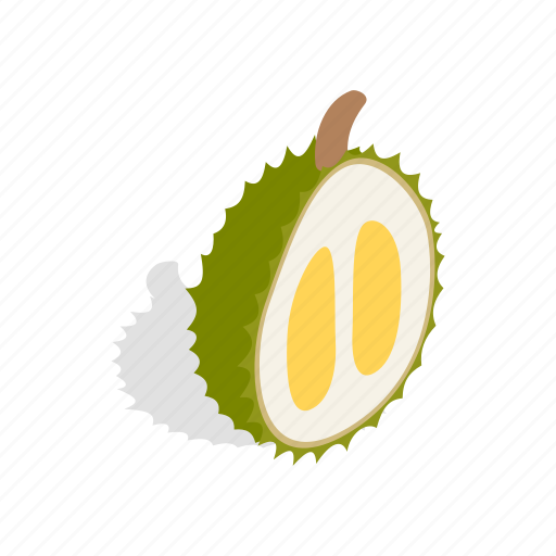 durian, food, fruit, green, isometric, thorn, tropical icon