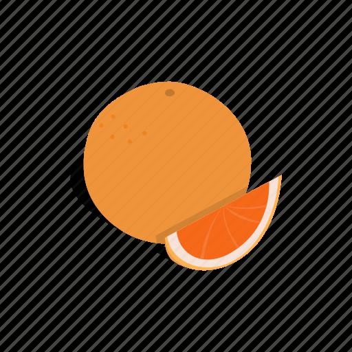 citrus, food, fruit, grapefruit, half, isometric, red icon