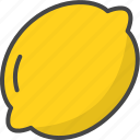 lemon, outline, food, fruit, fruits, filled