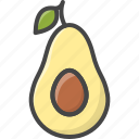 avocado, filled, food, fruit, fruits, outline icon
