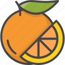 slice, outline, food, fruit, fruits, orange, filled
