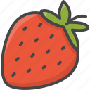 berrie, outline, food, strawberry, fruit, fruits, filled