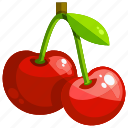 cherry, food, fruit, fruits, healthy icon
