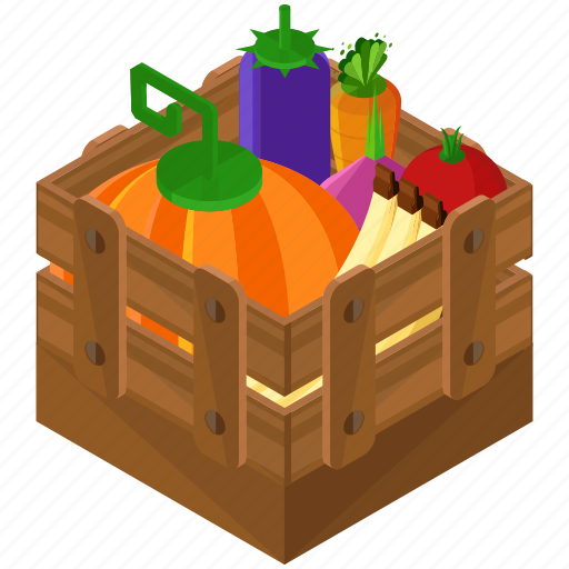 box, crate, food, healthy, organic icon