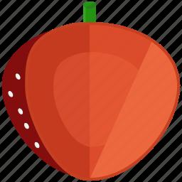 food, fresh, fruit, half, healthy, strawberry icon